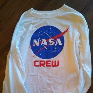 Land's End YM NASA Crew Long Sleeve T-shirt White
